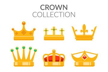 9款金色王冠设计矢量梦之城娱乐