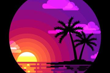 紫色大海和棕榈树风景矢量齐乐娱乐