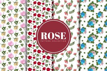 4款彩色玫瑰无缝背景矢量素材