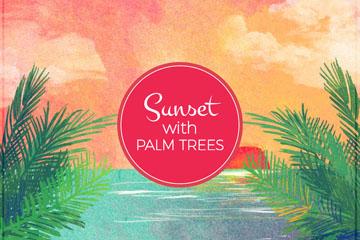 彩绘夕阳下的棕榈树风景矢量图
