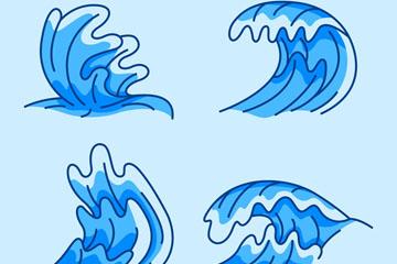 4款蓝色手绘浪花矢量素材
