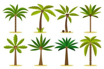8款绿色棕榈树设计矢量素材