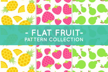 3款扁平化菠萝草莓和梨无缝背景