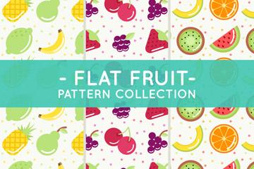 3款扁平化水果拼图无缝背景矢量
