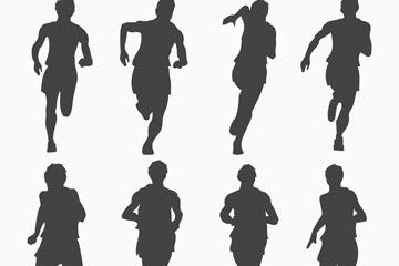 8款动感赛跑人物剪影矢量素材