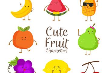 8款可爱彩色水果矢量w88优德
