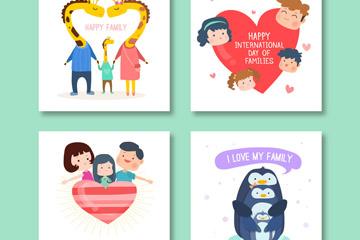 4款创意国际家庭日快乐卡片矢量素材