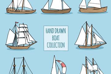8款手绘帆船设计矢量素材