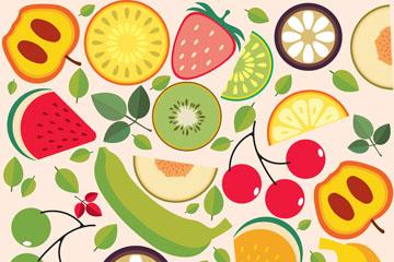 扁平化水果和树叶无缝背景矢量图