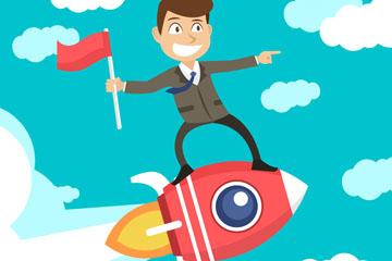 卡通乘火箭飞向目标的商务男子矢量图