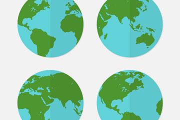 4款蓝色扁平化地球矢量素材