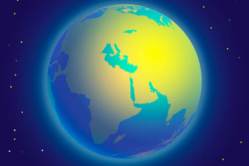 创意发出光芒的地球矢量素材