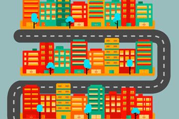 创意彩色城市地图矢量素材