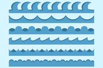 7款创意蓝色海浪矢量素材