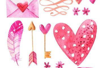 13款水彩绘粉色爱心元素矢量图