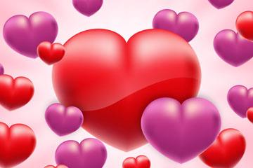 创意立体紫色和红色爱心矢量图