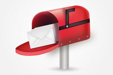 逼真红色信箱和信件矢量素材