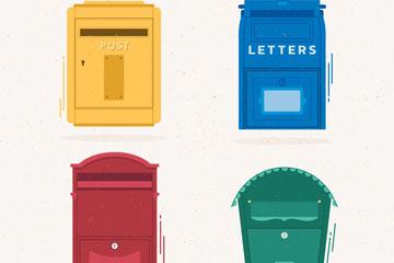 4款彩色邮筒设计矢量素材
