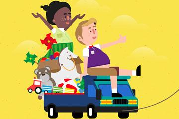 创意玩具车上玩耍的2个儿童矢量图
