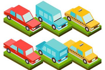 6款彩色立体车辆设计矢量图