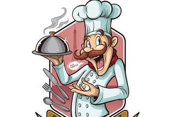 彩绘大胡子厨师矢量素材