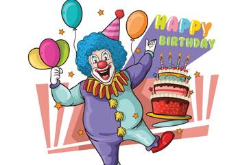 彩绘生日派对小丑矢量素材