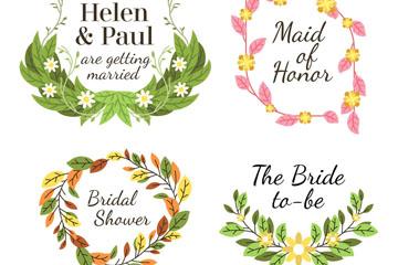 4款彩色树叶和花卉婚礼标签矢量