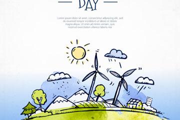 彩绘世界环境日发电风车矢量素材