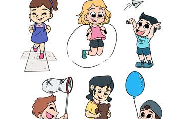 6款活泼玩耍的男孩和女孩矢量素材