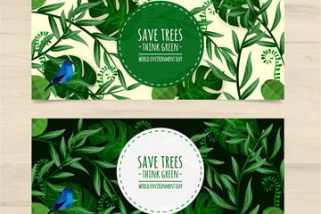 2款彩绘世界环境日树叶和蓝色鸟b