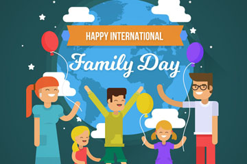 创意国际家庭日五口之家矢量图