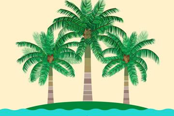 创意岛屿上的3棵棕榈树矢量素材