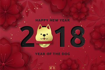 2018可爱狗头像春节贺卡矢量素材