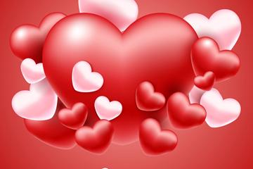 立体质感红色和粉色爱心矢量素材