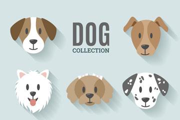 8款精致宠物狗头像矢量素材