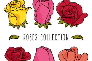 6款彩色玫瑰花设计矢量素材