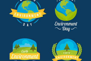 4款创意世界环境日标签矢量素材
