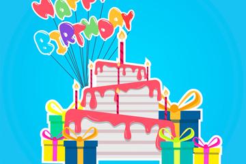 彩色生日蛋糕和礼盒贴纸矢量图