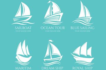 6款白色帆船标志矢量素材