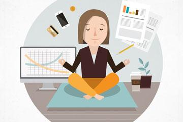 创意练瑜伽的商务女子矢量素材