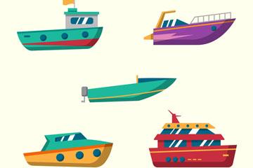 5款彩色船舶设计矢量素材