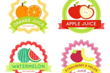 4款新鲜水果果汁标签矢量素材