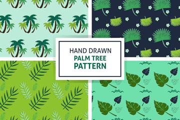 4款手绘热带棕榈树无缝背景矢量图