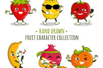 6款手绘卡通表情水果矢量w88优德