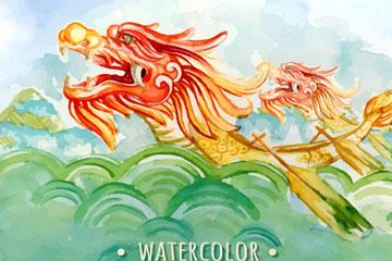 水彩绘江里的龙舟矢量素材