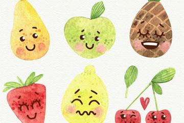 6款水彩绘表情水果矢量优发娱乐