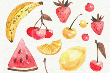 13款彩绘黄色和红色水果矢量图