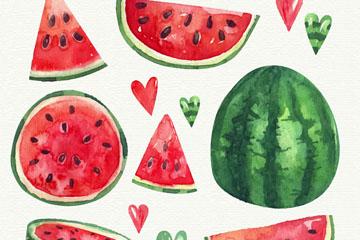 7款新鲜西瓜和爱心矢量w88优德