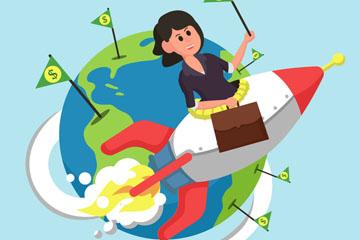 创意坐火箭冲出地球的商务女子矢量素材
