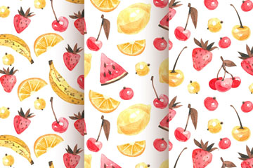 3款水彩绘红色和黄色水果无缝背